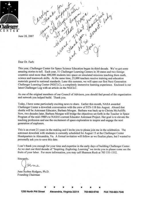 June Scobee Rodgers Letter